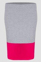 Spódnica plus size DUO S-020 dzianina Light Gray Melange/Fuchsia
