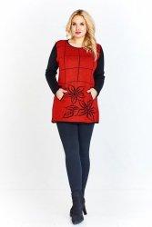 Swetrowa tunika z kontrastującym kolorystycznie przodem w kratę i kwiatowy motyw, kieszonki