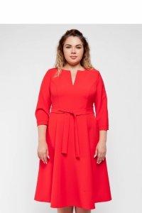 Elegancka rozkloszowana modna sukienka TR1992 Orzechowy