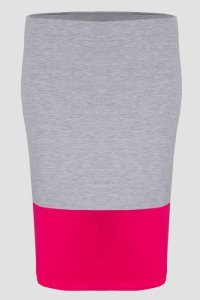 Spódnica dzianinowa DUO S-020 Light Gray Melange/Fuchsia