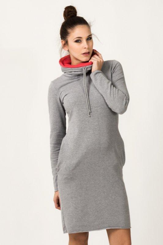 Sukienka model Kaja Light Gray/Coral