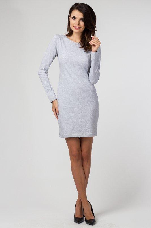 e48570eaaaa665 Sukienka dzianinowa M-033 Light Gray Melange - Sukienki dzienne ...