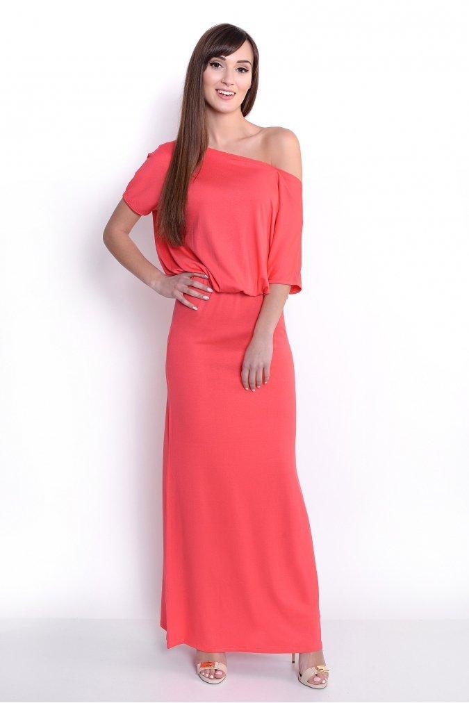 elegancka-sukienka-plus-size-s-m-l-xl-xxl-xxxl-GLORIA-koralowa-czerwona-dluga-przod