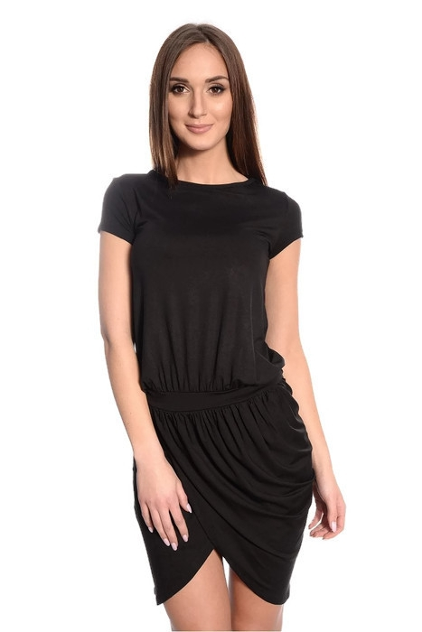 Tunika-damska-XL-XXL-Sukienka-mini-PLUS-SIZE-czarna-krotki-rekawek