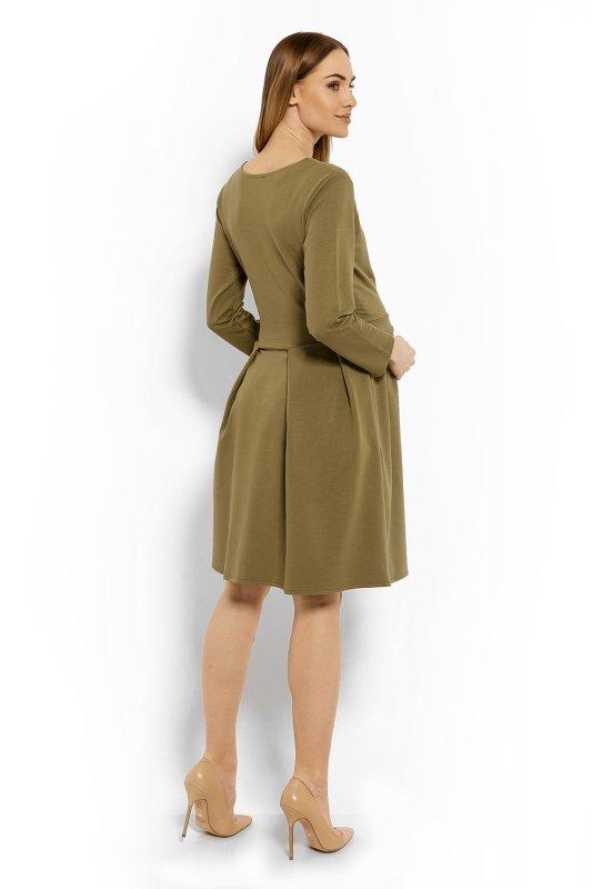 Sukienka-Ciazowa-Model-1628C-Khaki-odziez-ciazowa-tyl