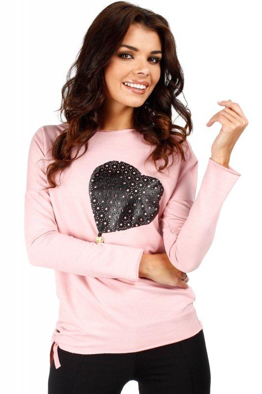 Bluza damska L-XXXL różowa MOE048 SERCE