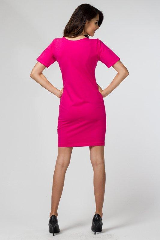 Sukienka dzianinowa M-034 Fuchsia