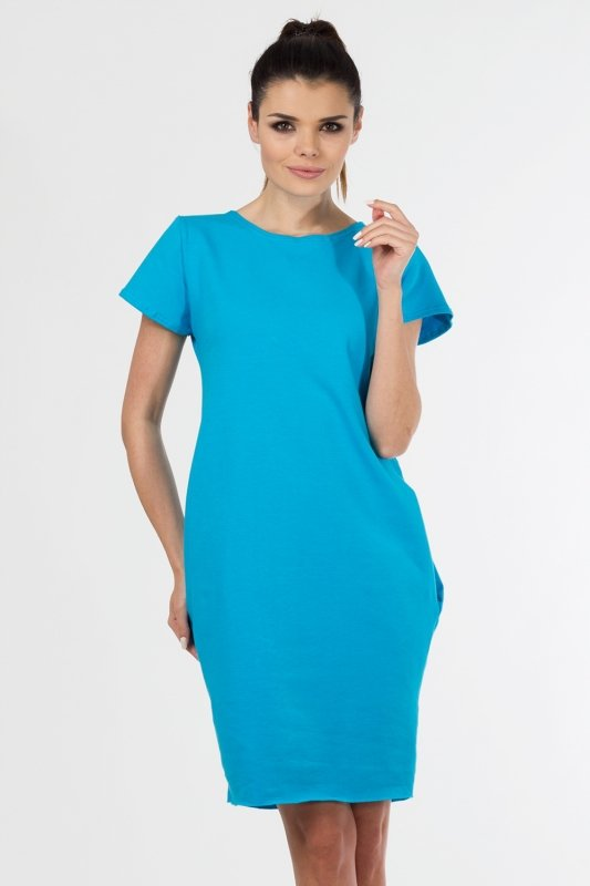 Sukienka PLUS SIZE 40-54 dzianina dresowa NIEBIESKA D-021 duże rozmiary
