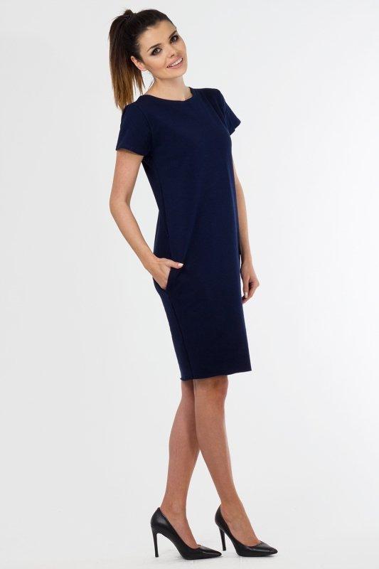Sukienka dzienna PLUS SIZE 40-54 dzianina dresowa GRANATOWA D-021 duże rozmiary
