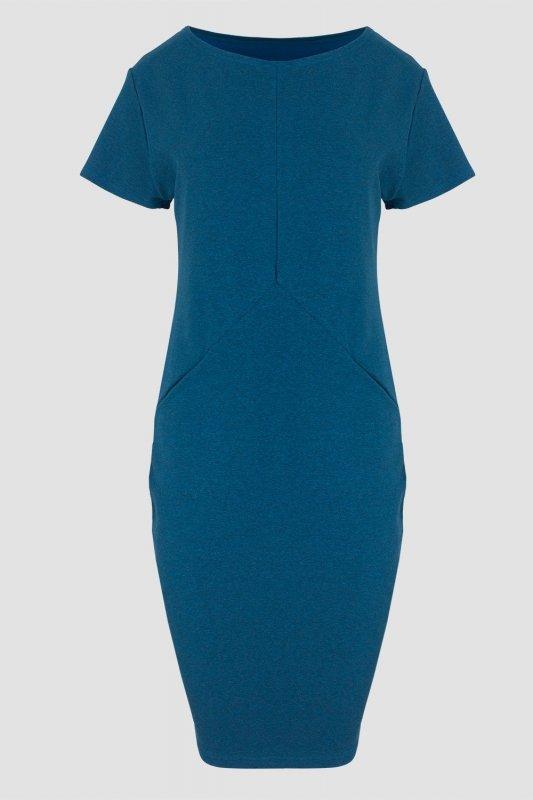 Sukienka dzienna PLUS SIZE 40-52 dresowa D-041 Blue Melange DUŻE ROZMIARY