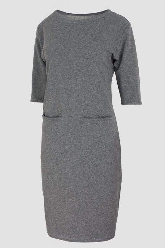 Sukienka dzienna 40-52 dresowa SZARY MELANŻ D-030 Gray DUŻE ROZMIARY