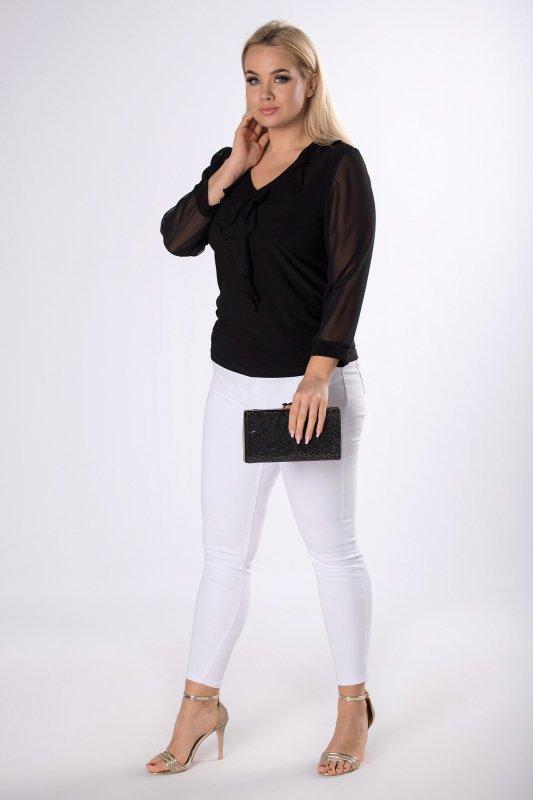 Elegancka bluzka z prześwitującymi rękawami i ozdobną falbaną