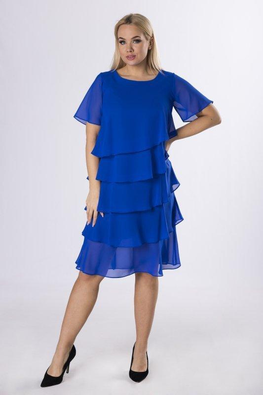 Sukienka tiulowa w groszki POLI z asymetrycznymi falbanami