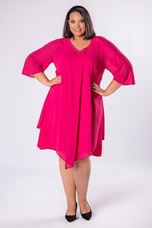 Elegancka-sukienka-xl-xxl-wizytowa-na-wesele-chrzest-komunia-IREXA-trapezowa-granatowa
