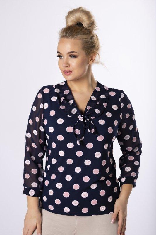 bluzka z tiulowymi rękawami i ozdobnym wiązaniem przy szyi
