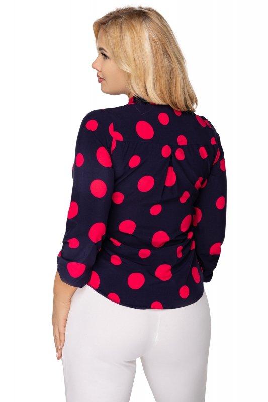 Elegancka-bluzka-damska-plus-size-dla-puszystych-KALINA-o-koszulowym-kroju-xl-xxl-grochy-do-biura-chrzest-bierzmowanie-komunia-tyl