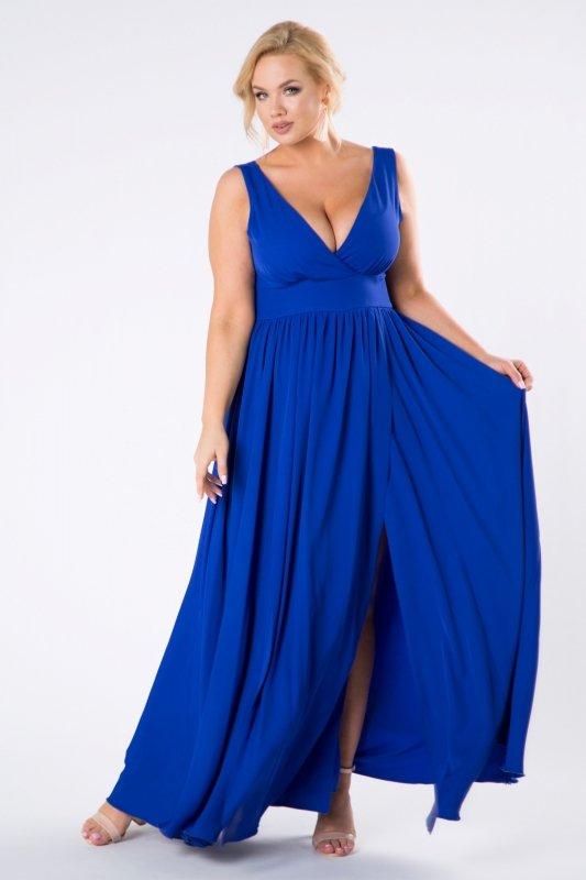 sukienka maxi z kopertowym dekoltem i efektownym rozporkiem z przodu