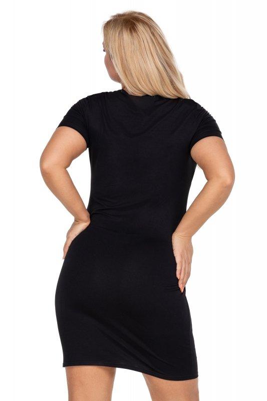 Czarna-sukienka-plus-size-elegancka-xl-xxl-KOROLA-przed-kolano-z-krotkim-rekawem-tyl