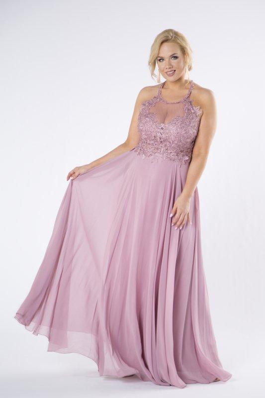 tiulowa sukienka maxi z haftowaną górą z błyszczącymi kryształkami i dekoltem typu halter