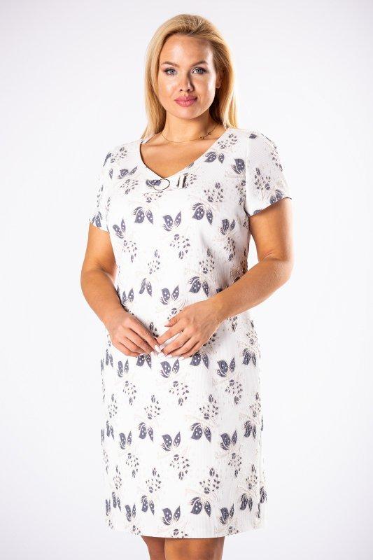 dopasowana sukienka z dekoltem w serek oraz aplikacją przy dekolcie