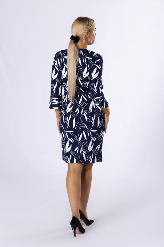 Sukienka-plus-size-elegancka-BRENDA-kwiaty-dla-puszystych-czarna-midi-przod
