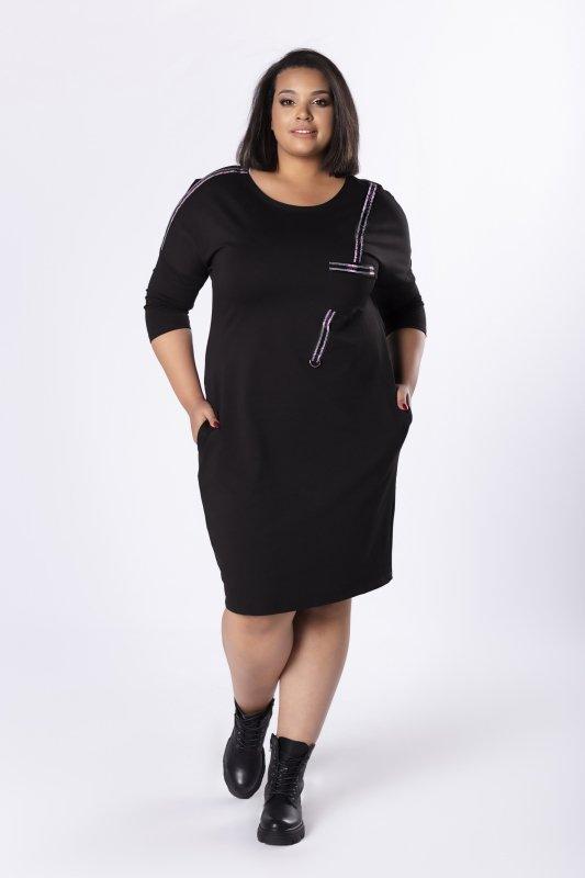 Sukienka TRIS z błyszczącymi lampasami