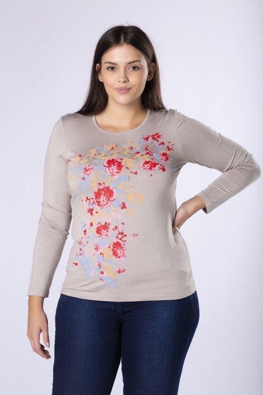 dopasowana bluzka z kwiatowym nadrukiem z przodu