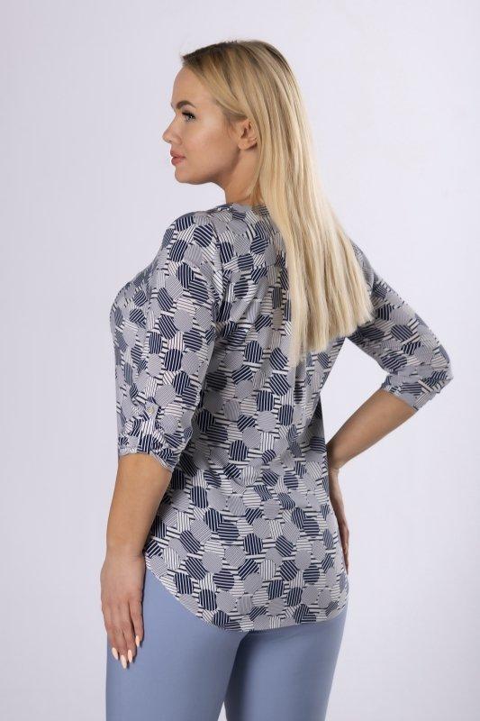 wzorzysta bluzka o koszulowym kroju z guzikami i kieszenią na biuście