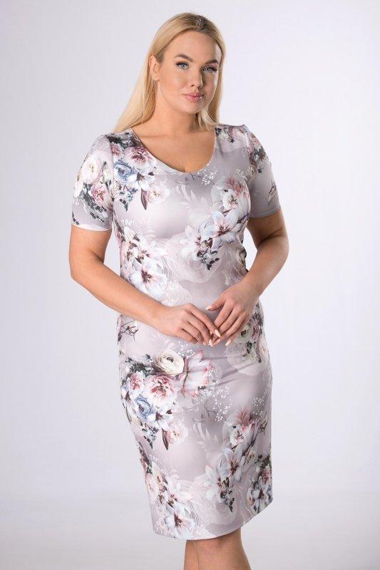 klasyczna sukienka w kwiatowy print