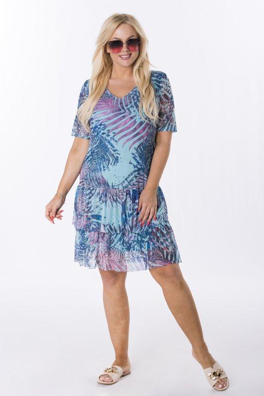 Trapezowa-sukienka-plus-size-WERONA-zwiewna-niebieska-przod