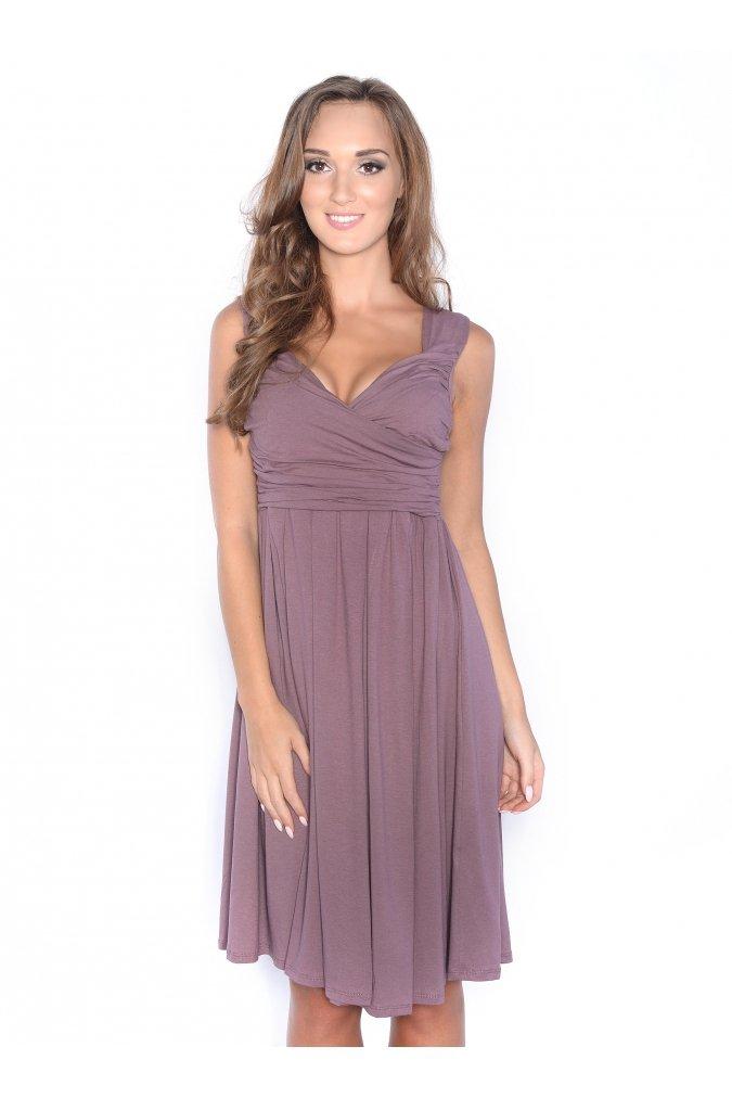 Sukienka-dzienna-plus-size-S-m-l-xl-xxl-3xl-rozkloszowana-dekolt-brazowa-cappucinno