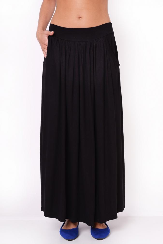 Spódnica plus size S-3XL Maxi AGA Długa czarna