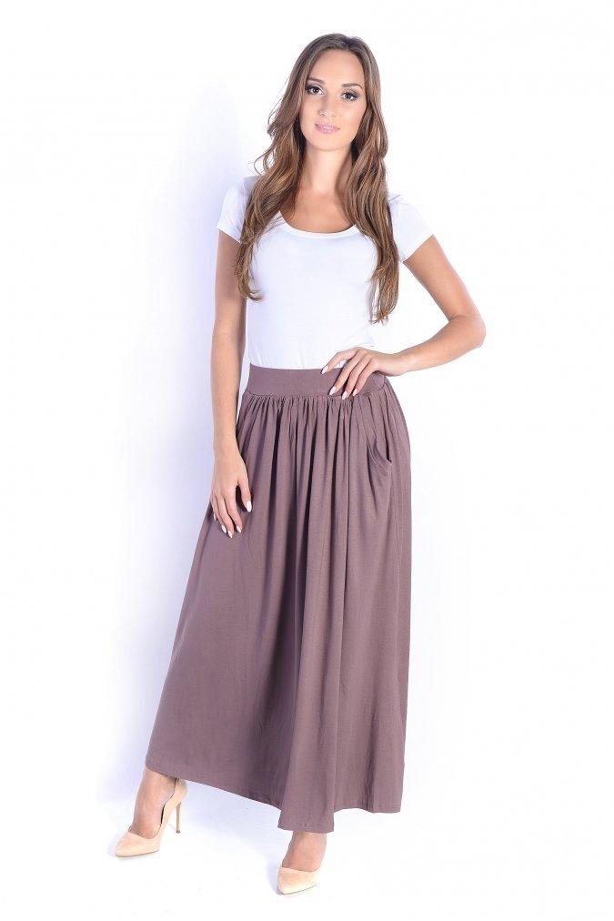Spodnica-plus-size-dluga-maxi-xl-xxl-Maxi-AGA-brazowa-cappucinno