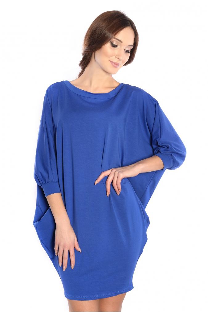 Sukienka-plus-size-/-tunika-oversize-NIETOPERZ-xl-xxl-niebieska-luzna-na-impreze