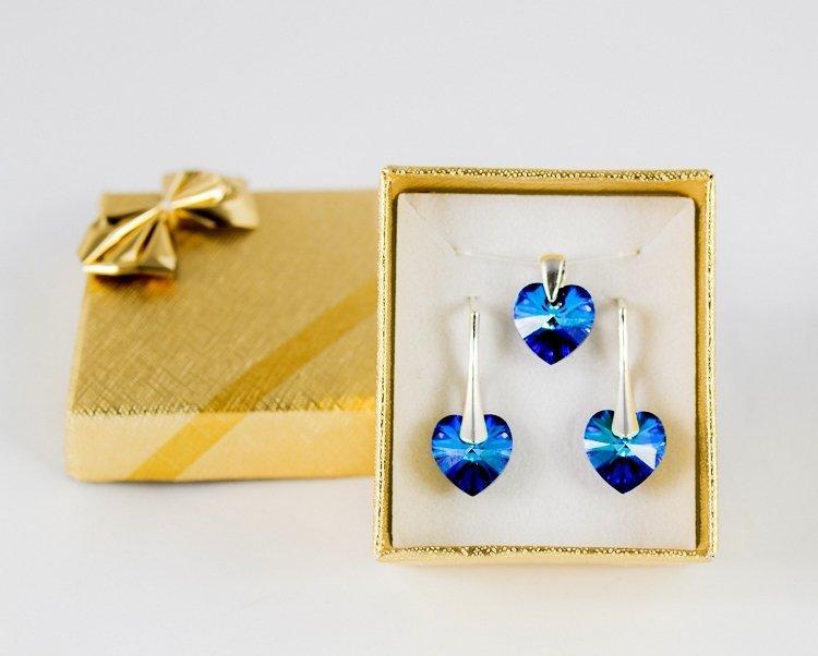 Komplet-damski-srebro-925-Swarovski-BLUE-HEART-koczyki+przywieszka