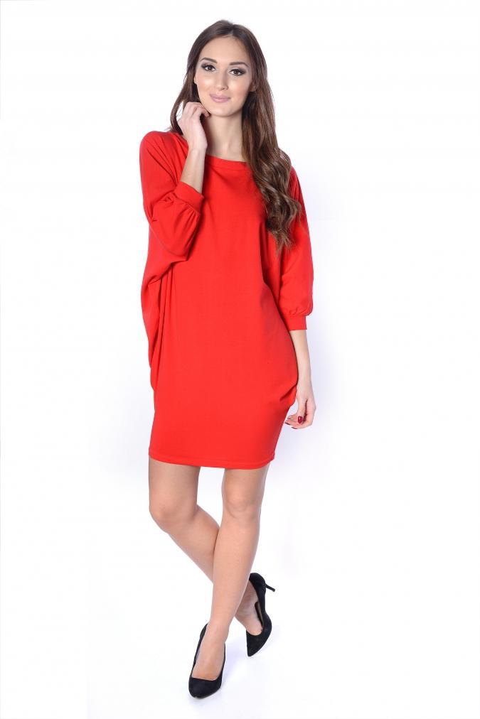 Sukienka-plus-size-/-tunika-oversize-NIETOPERZ-xl-xxl-czerwona-luzna-na-impreze
