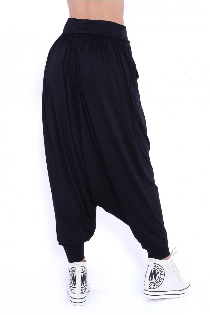 Spodnie-damskie-PLUS-SIZE-dla-puszystych-xl-xxl-luzne-sportowe-HAREMKI-dlugie-nogawki-czarne-tyl