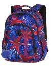 Plecak CoolPack STRIKE czerwone kwiaty na niebieskim tle, HAWAIAN BLUE + pompon (88190CP)