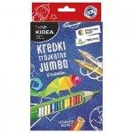 Kredki ołówkowe trójkątne grube 12 kolorów KIDEA (KTG12KA)