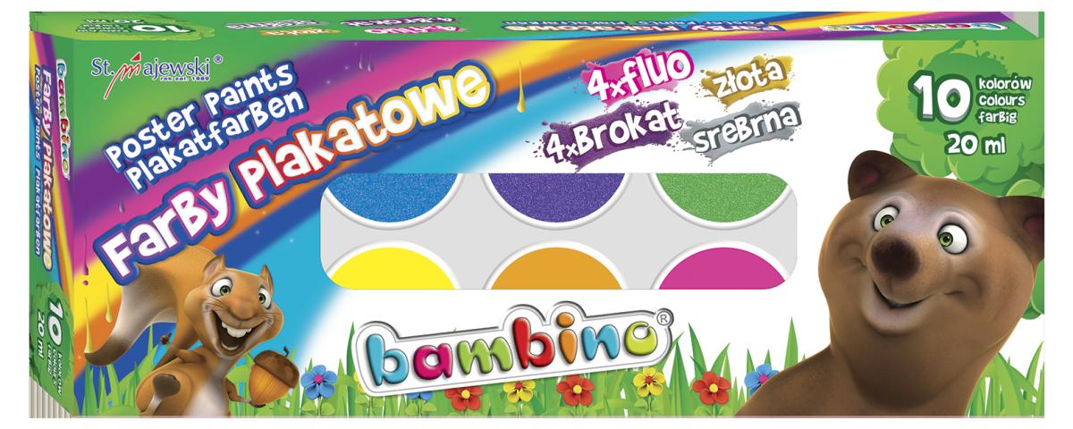Farby Plakatowe Bambino 10 Kolorow Fluo Brokat 01956 Plecaki