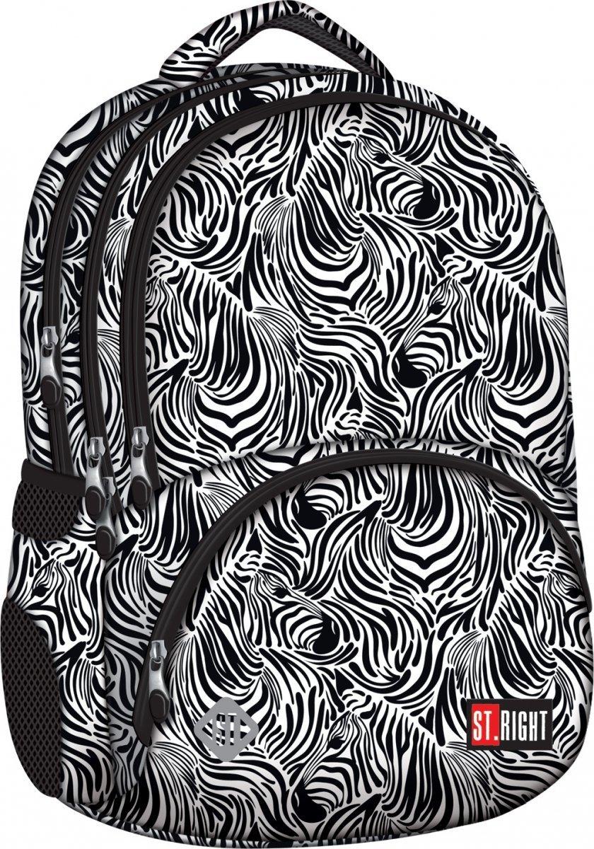 1c1d10503ba7d Plecak szkolny młodzieżowy ST.RIGHT w czarno białe wzory ZEBRA BP7 (18260)