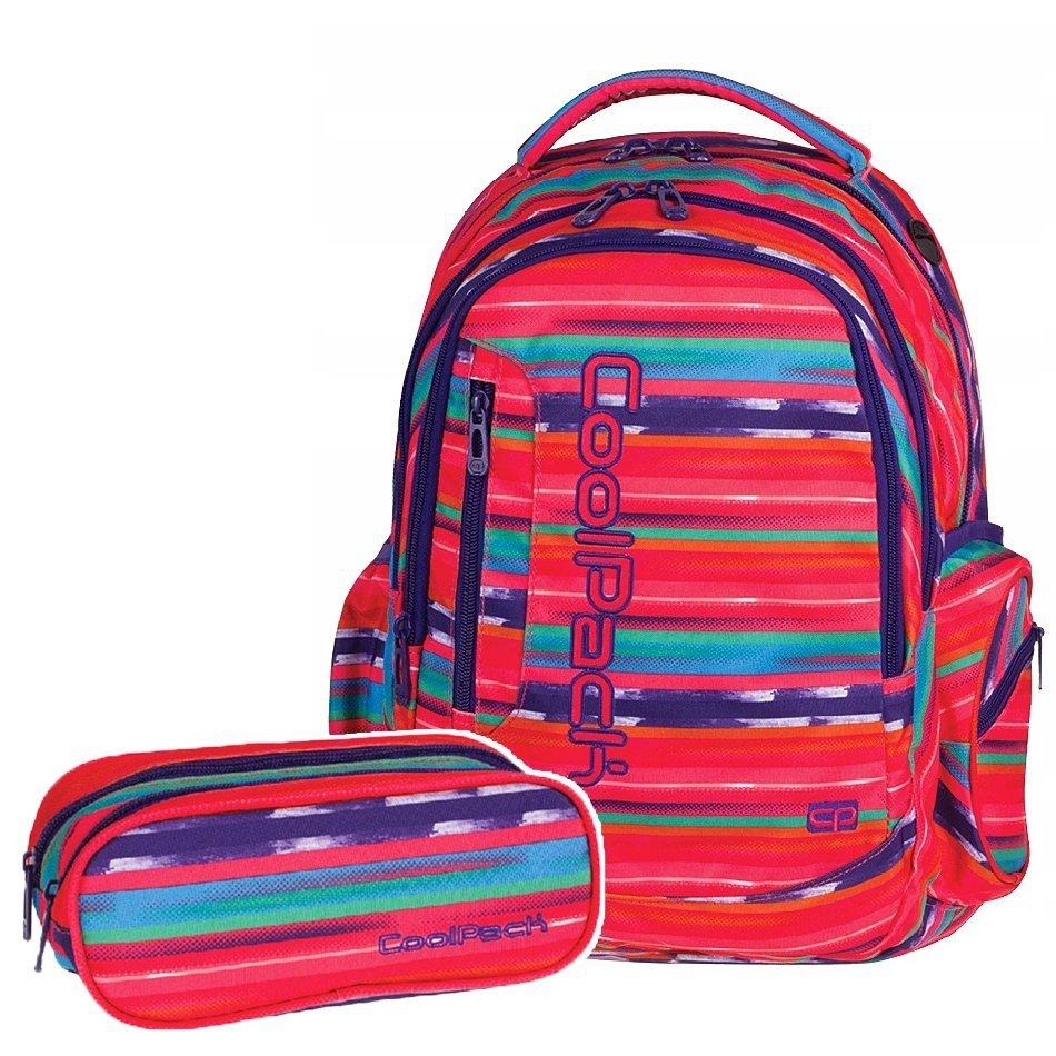 d58a26f9f7211 Zestaw Plecak szkolny CoolPack LEADER Piórnik TEXTURE STRIPES 2 cz.  (72960SET)