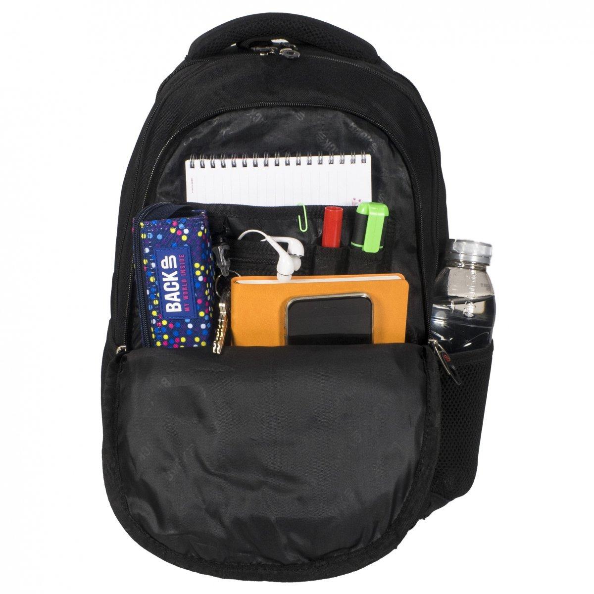 86f22a5764470 Plecak szkolny młodzieżowy Back UP czarny ELECTRO SHAPES + słuchawki  (PLB1C5)