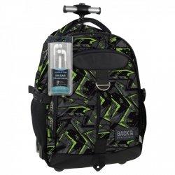 7af87b1ac48d9 Plecak szkolny młodzieżowy na kółkach Back UP zielone wzory GREEN SCRATCH +  słuchawki (PLB1K31)