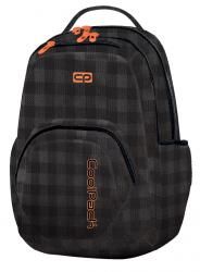 Plecak szkolny młodzieżowy COOLPACK SMASH w czarno szarą kratę, BLACK&ORANGE 1037 (79334)