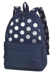Plecak szkolny młodzieżowy COOLPACK STREET niebieski w kropki, SILVER DOTS/BLUE (84496CP)