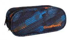 Piórnik dwukomorowy saszetka COOLPACK CLEVER w niebiesko - pomarańczowe wzory, TIRE TRACKS 754 (73394)