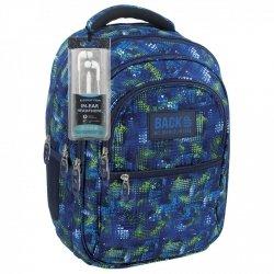 Plecak szkolny młodzieżowy Back UP niebieskie i zielone wzory TIRE TRACKS + słuchawki (PLB1B30)