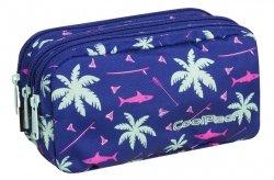 Piórnik trzykomorowy saszetka COOLPACK PRIMUS  różowe rekiny na granatowym tle, PINK SHARKS (86981CP)