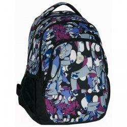 Plecak szkolny młodzieżowy czarny w kolorowe TUKANY (16699PA)